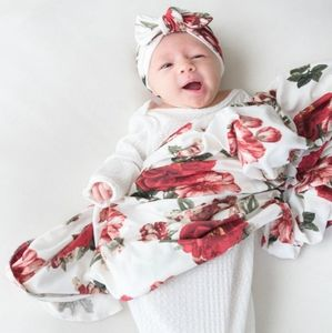 Other - Floral Baby Swaddle Blanket with turban hat set